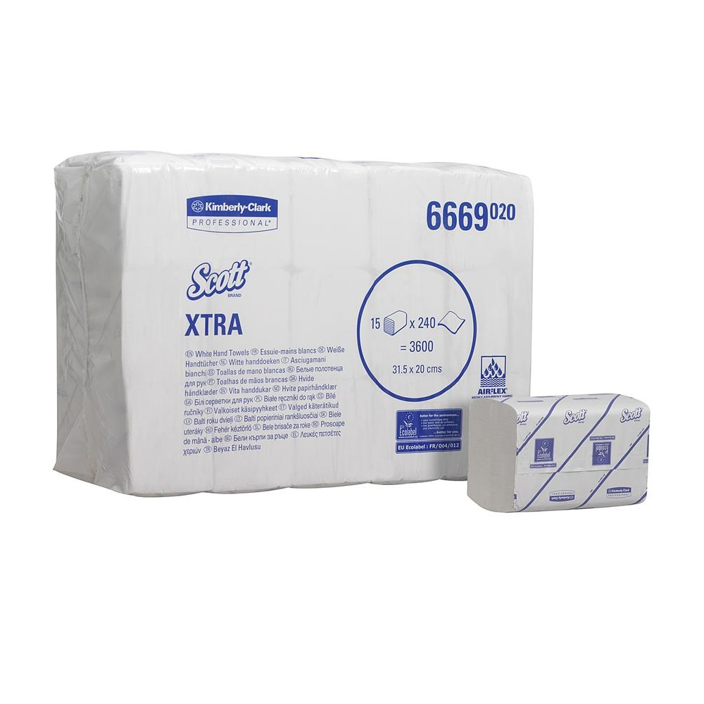 Scott XTRA Hand Towels - Interfolded - White - Med